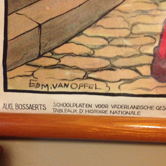 Vintage Belgian History School Chart Art - Image 6 of 10