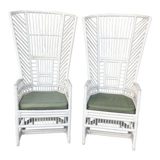 Vintage Rattan High Back Chairs - a Pair