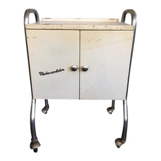Vintage Metal Rolling Side Table
