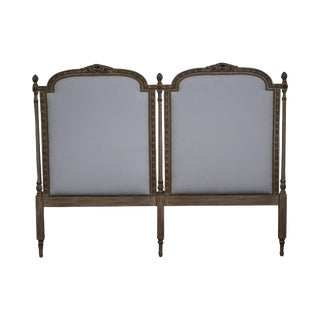 French Louis XVI Style Double Upholstered Panel Painted King Size Headboard