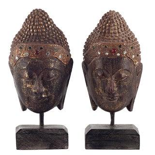 Golden Wooden Buddha Heads on Stands - a Pair