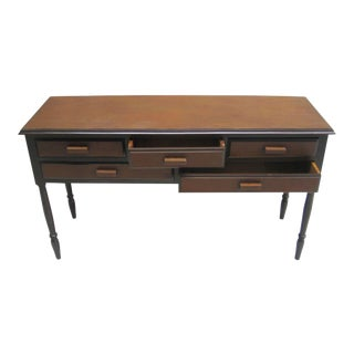 French 1930s Leather Covered Console after Jean-Michel Frank