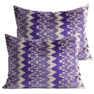 Orchid Plum Silk Velvet Pillows - A Pair