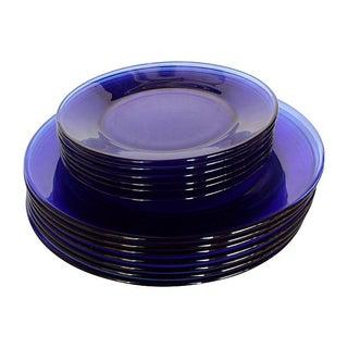Cobalt Blue Glass Dishes - Set of 13