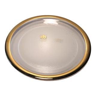 Vintage Italian Glass 22 Karat Gold Rimmed Platter