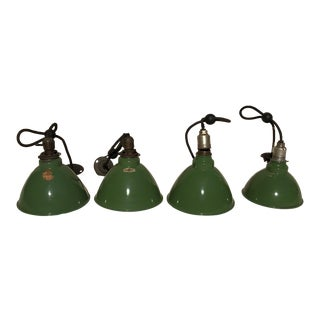 Vintage Hanging Industrial Porcelain Lights - Set of 4