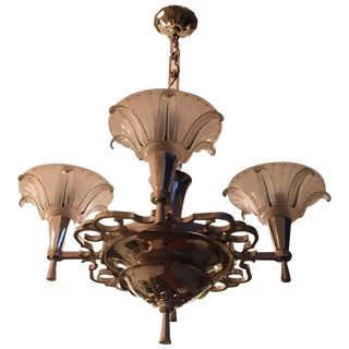 French Art Deco Opalescent Chandelier