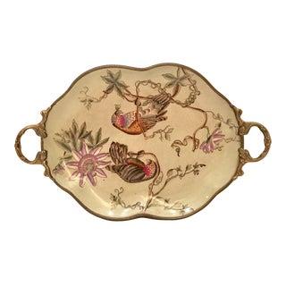 Vintage Bronze Hand Painted Ceramic & Enamel Bird Tray