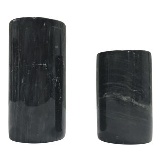 Black Marble Candle Holders - A Pair