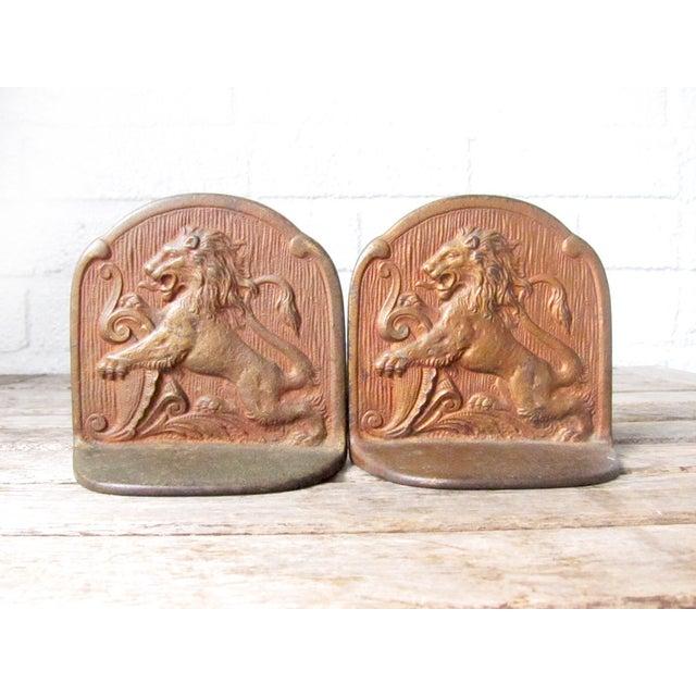 Image of Vintage Brass Lion Bookends