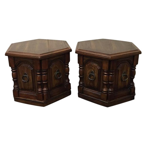Image of Mid-Century Wooden Hexagon Side Tables - Pair