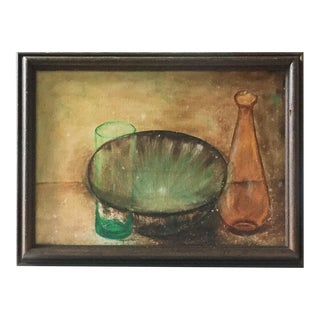 Mid-Century  Bowl and Decanter Still Life