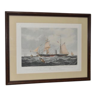 1850s The Steam Frigate Cyclops Color Engraving