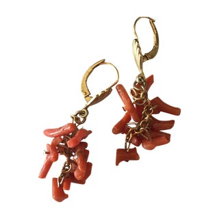 Orange Coral and 14kt Gold Drop Earrings
