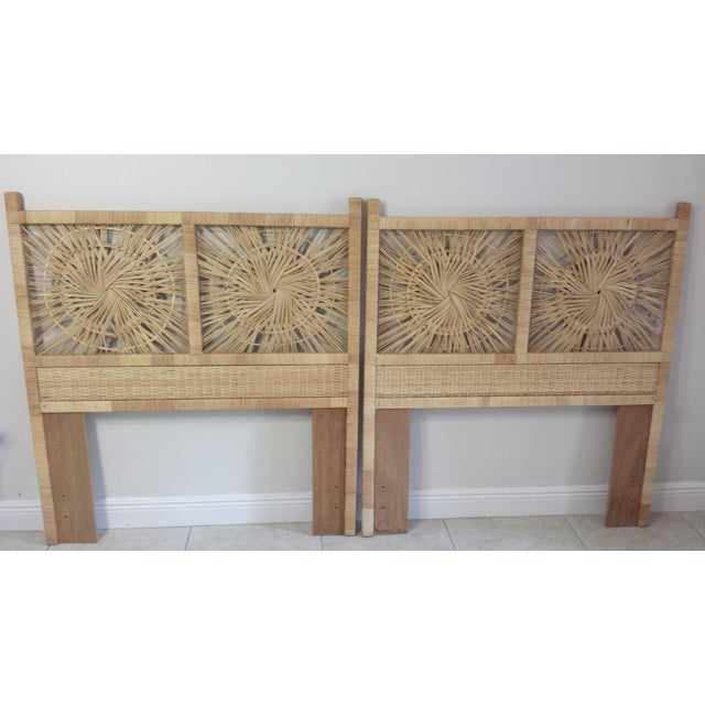 Woven Rattan Twin Headboards - A Pair - Image 4 of 9