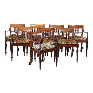 Regency Style Walnut Dining Chairs - Set of 8