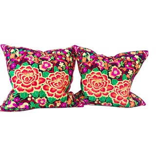 Embroidered Floral Pillows - A Pair