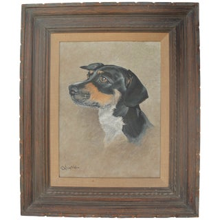 Vintage Dachshund Portrait Painting
