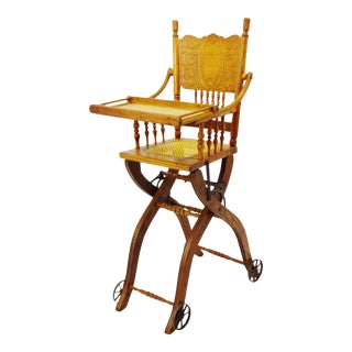 Antique Adjustable Child's High Chair and Stroller Combination- Cane Seat