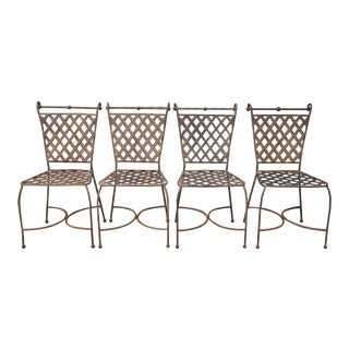 Hollywood Regency Scrolling Wrought Iron Garden Patio Chairs - Set of 4