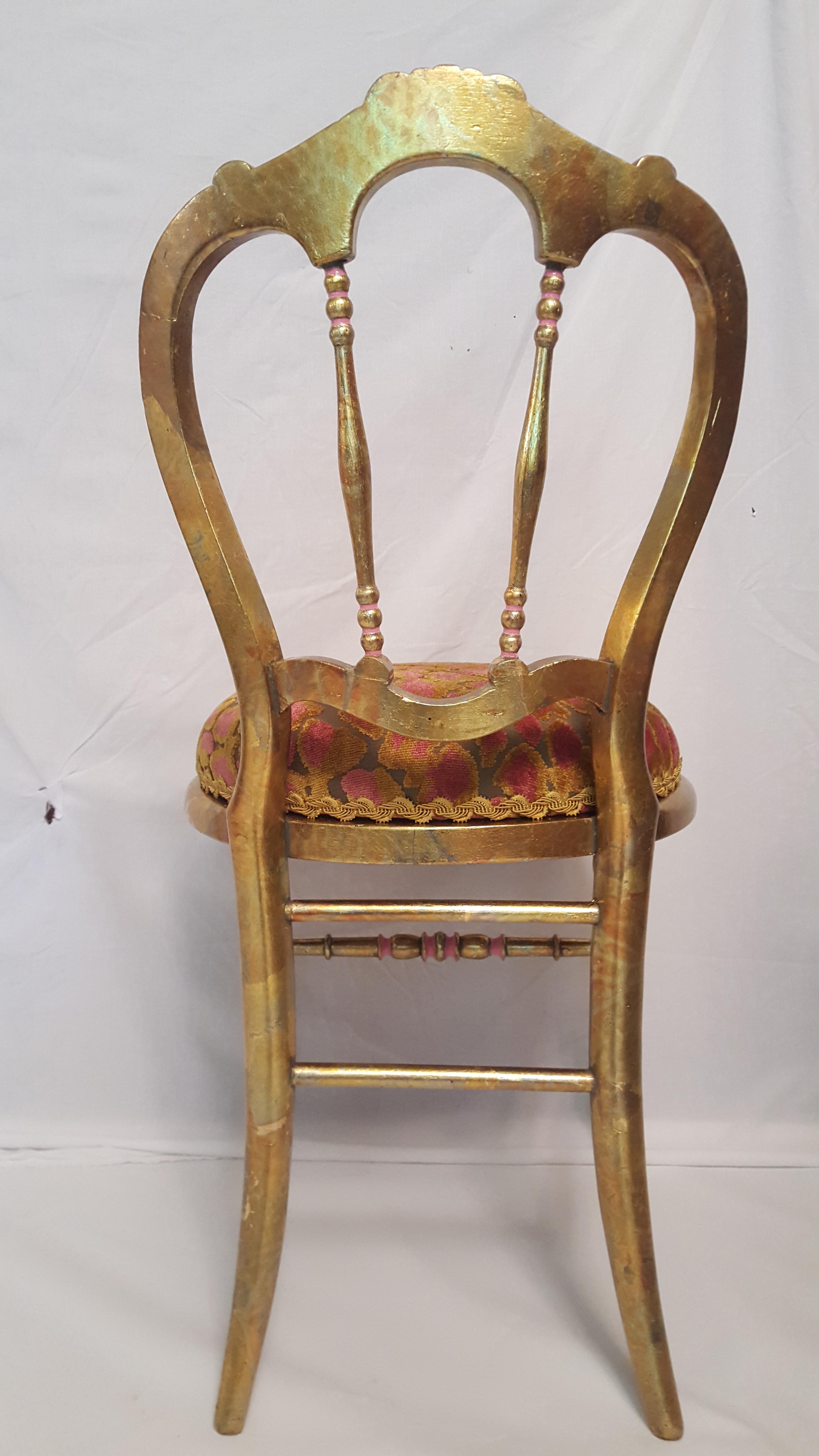 Delightful Hollywood Regency Gold Leafed U0026 Leopard Velvet Vanity Chair   Image 5 ...