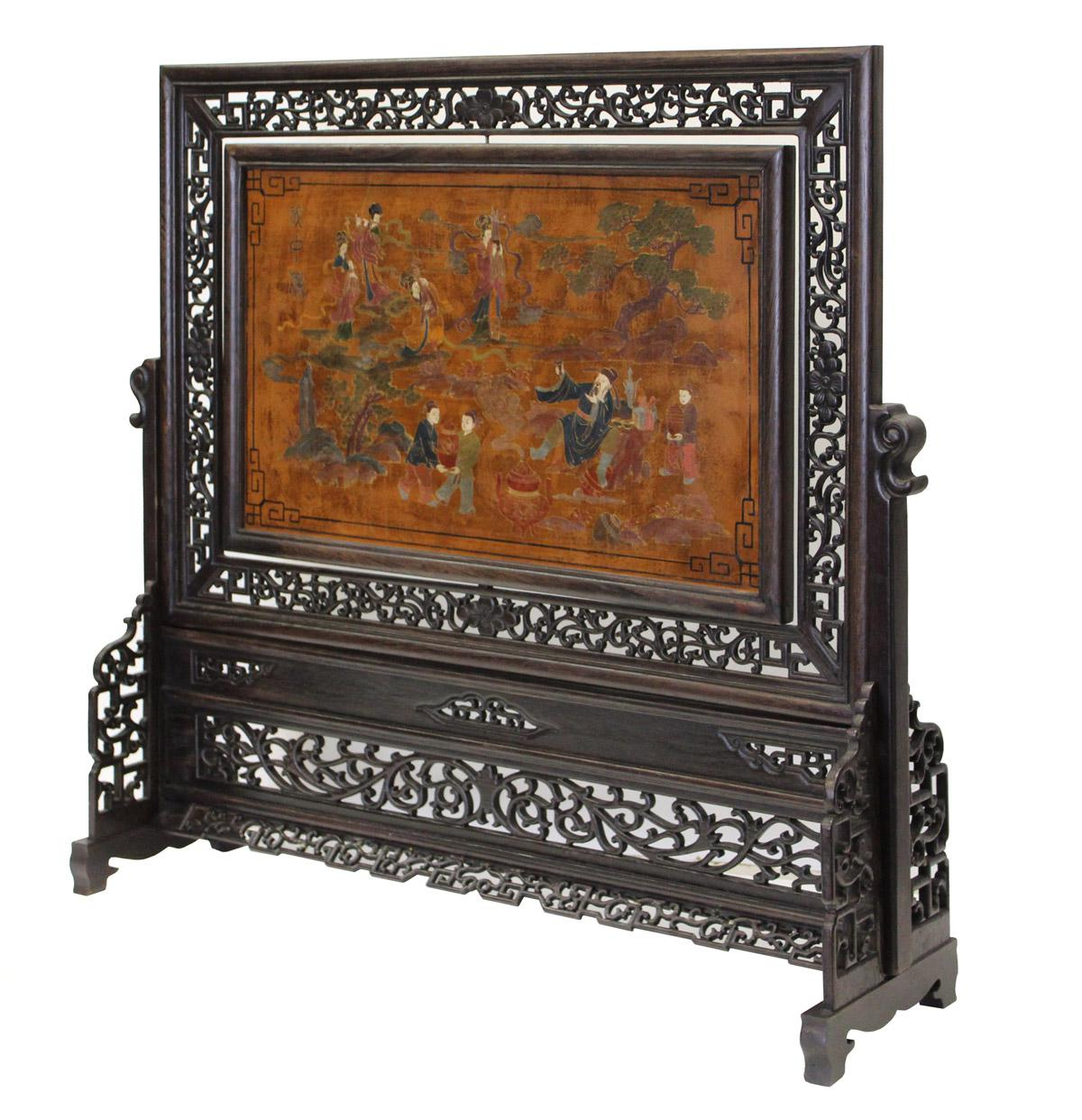 Chinese Lacquer Table Top Screen   Image 3 Of 8