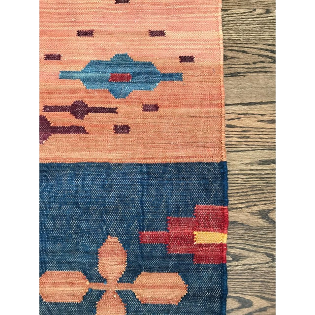 Vintage Hand Loomed Flatweave Southwest Boho Modern Rug - 5x7 - Image 6 of 6