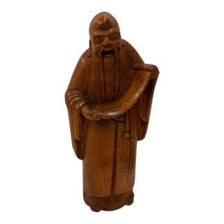 Vintage Wooden Shou Lao Figurine