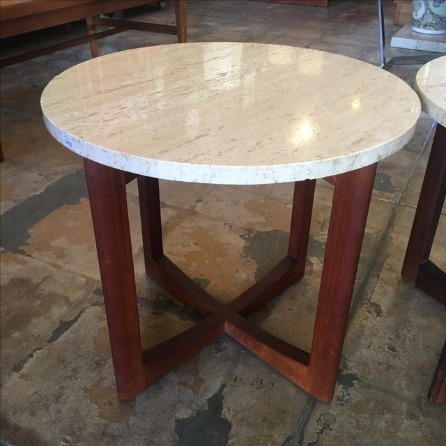 Image of Travertine Topped Side Tables - A Pair