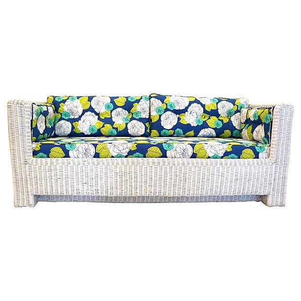 White Wicker Indoor/Outdoor Sofa - Image 2 of 7