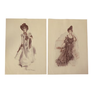 1900s Prints American Beauties - a Pair