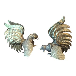 Vintage Japanese Brass Roosters - A Pair
