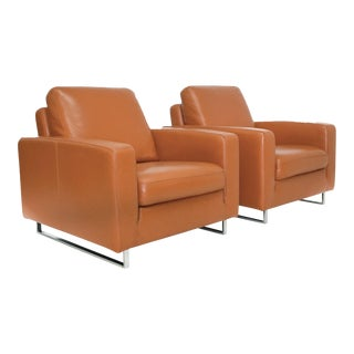 Mid-Century Leather & Chrome Club Chairs - A Pair