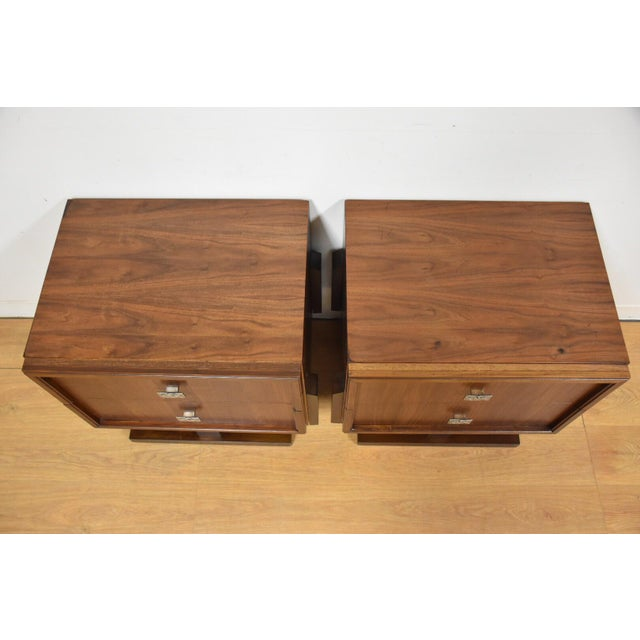 Image of Mid-Century Brutalist Walnut Nightstands - A Pair