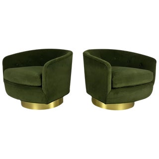 August' Lounge Chairs in Velvet with Polished Brass Bases