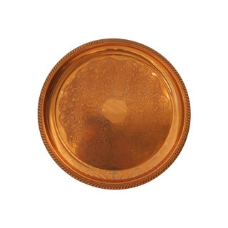 Etched Large Round Copper Tray