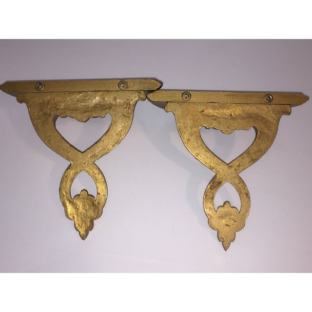 Italian Syroco Wood Gold Shelves - A Pair - Image 3 of 6