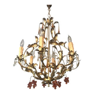 Gold Brushed Chandelier with Amber Grapes