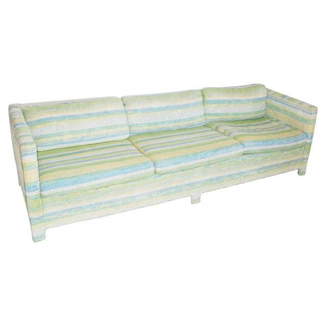 Image of Vintage Erwin-Lambeth Three-Seat Green & Aqua Sofa