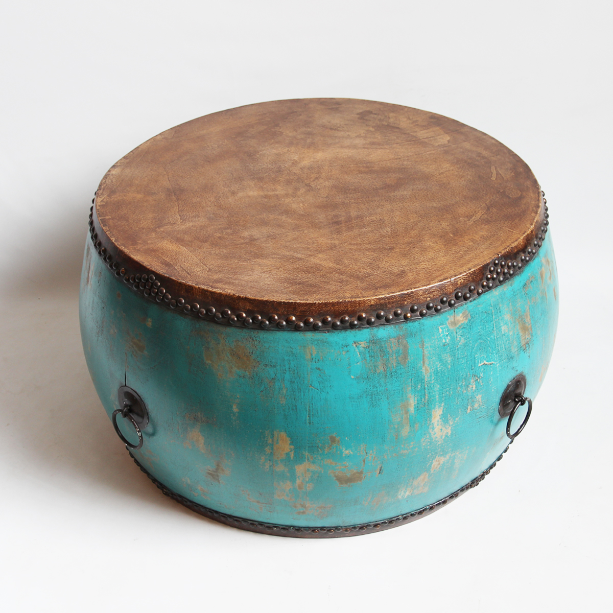 Turquoise Drum Coffee Table   Image 3 Of 5