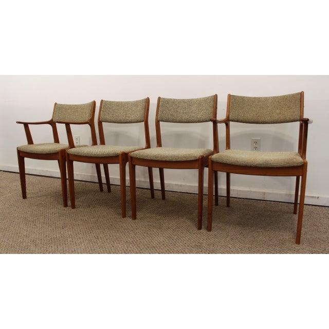 Danish modern teak dining chairs set of 4 chairish for Modern dining chairs ireland