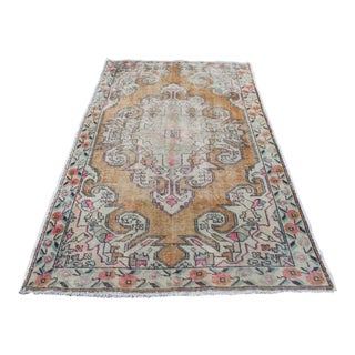 Faded Antique Turkish Oushak Area Rug - 4′5″ × 7′3″