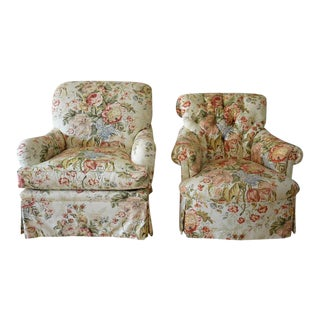 Edward Ferrell His & Hers Upholstered Club Chairs - A Pair