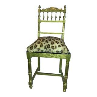 Hollywood Regency Gold Leaf & Leopard Side Chair
