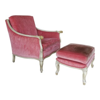 French Louis XV Style Arm Chair & Ottoman