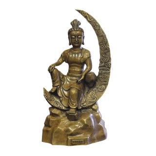 Bronze Metal Moon Sitting Kwan Yin Buddha Statue