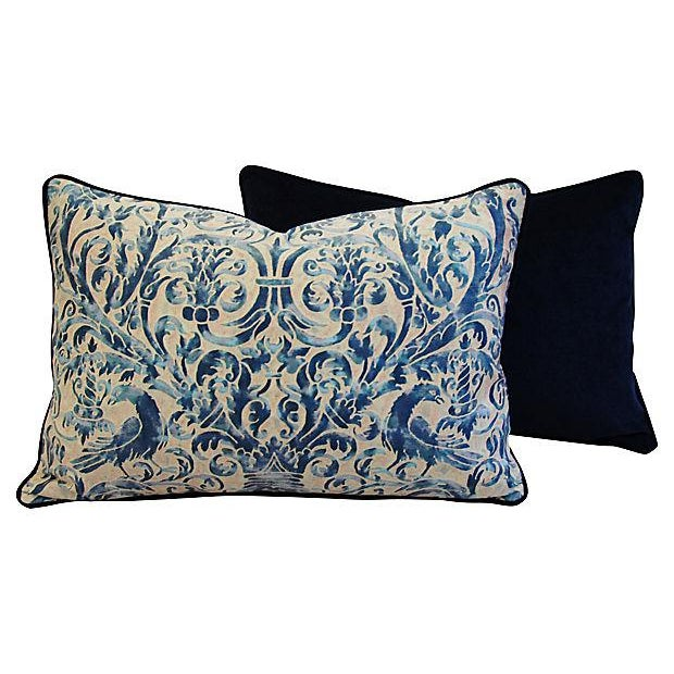 Custom Designer Italian Fortuny Uccelli Feather/Down Pillows - Pair - Image 8 of 10