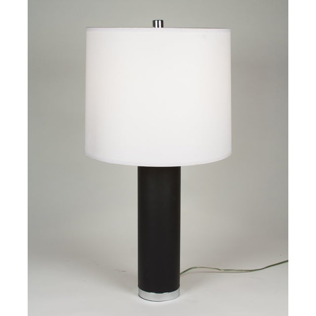Ralph Lauren Black Leather & Chrome Table Lamp - Image 5 of 8