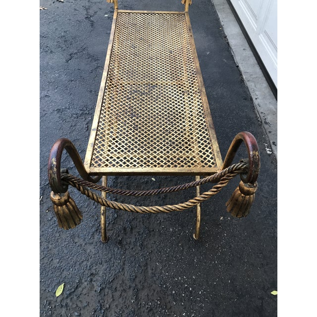 Italian Gilt Metal Rope and Tassel Double X Base Bench - Image 6 of 9