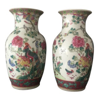 Chinese Rose Famille Porcelain Vases - A Pair